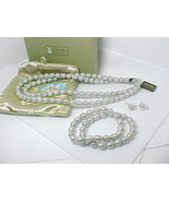 NWT - HONORA Ringed Cultured PEARLS JEWELRY SET Necklace Earrings and Br... - $245.00