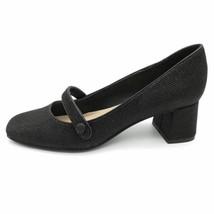 Isaac Mizrahi Womens Scarlet Mary Janes Block Heels Black Textured Strap... - $37.61