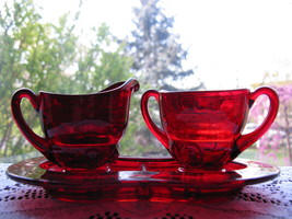 New Martinsville Ruby Moondrops Ind. Creamer & Sugar w/Tray - $45.00