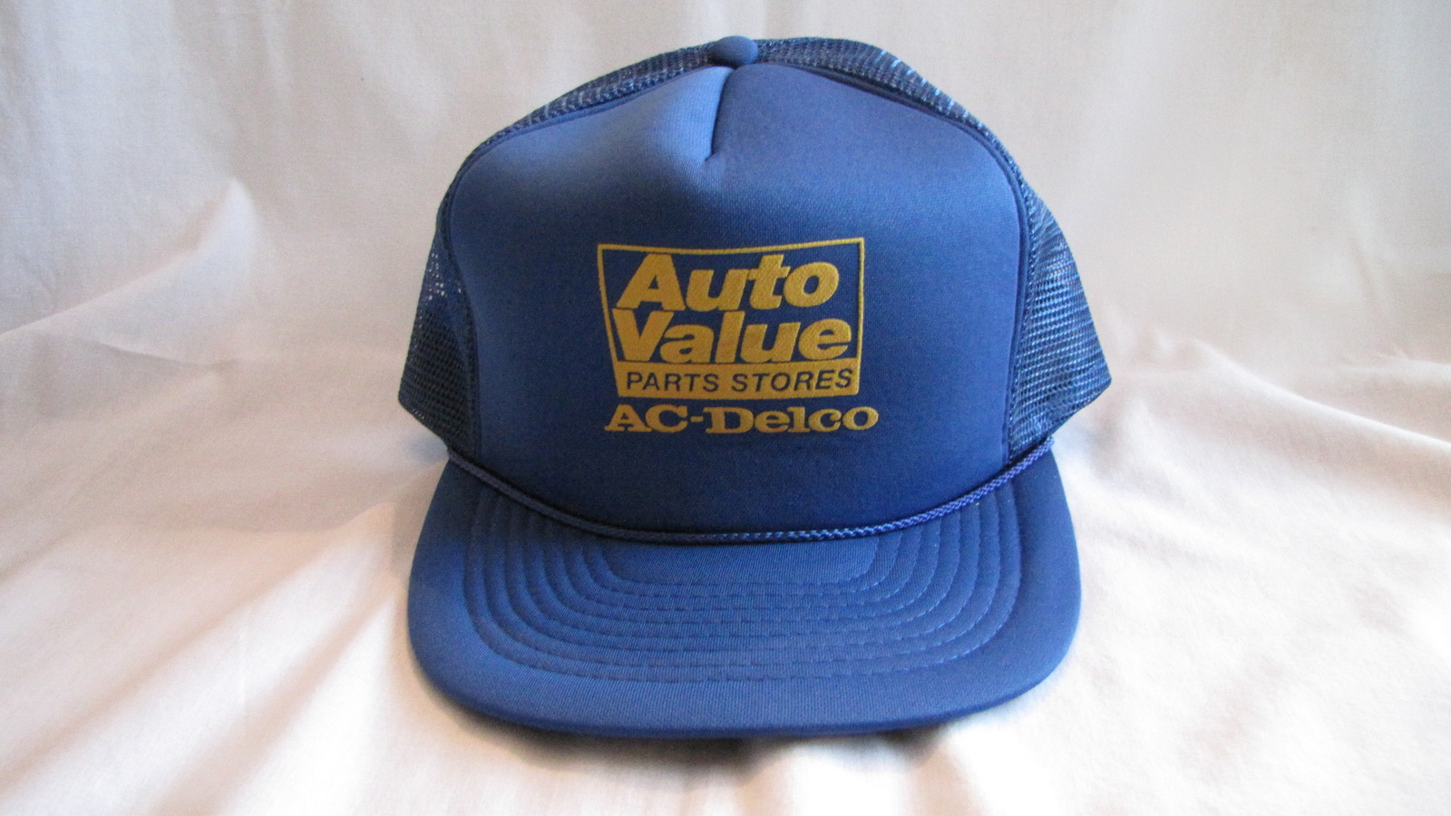 Auto Value Parts Stores AC-Delco Blue Baseball Trucker Hat Snap Back VINTAGE