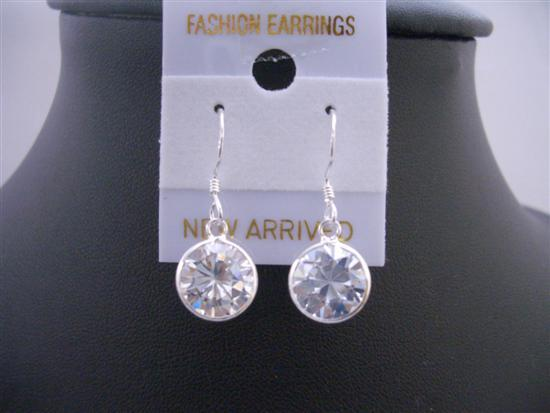10mm Cubic Zircon Stud Earrings Sterling Silver 92.5 Hook Earrings