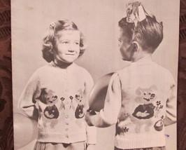 Vintage Mary Maxim Knitting Patterns CHILDREN 2 - 6 PORKY PIG Cardigan Sweater - $6.95