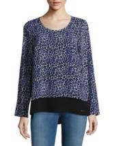 MICHAEL KORS Long Sleeve Animal Print Blue/Black Knit Top ( X-LARGE ) NW... - $39.27