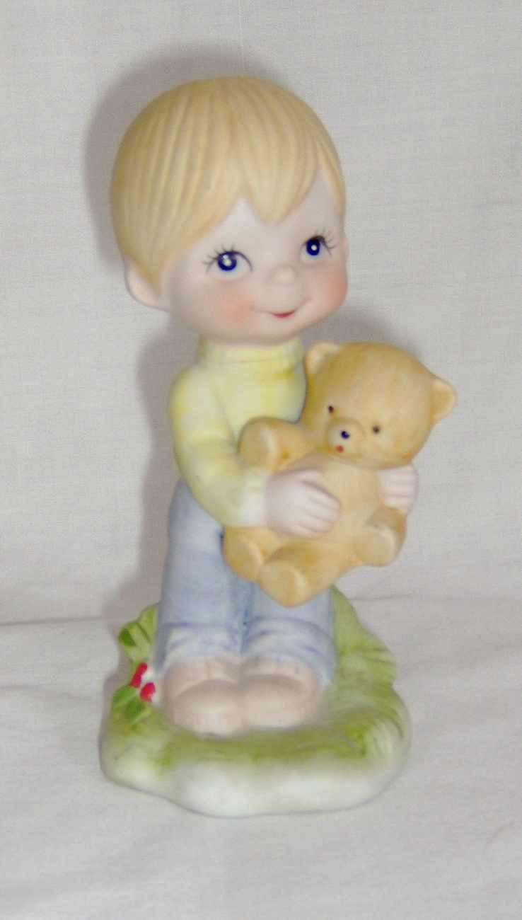 Love Is Kind Figurine Boy With Teddy Bear Pastel