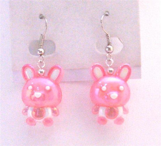 Pink Bunny Rabbit Easter Enameled Dangle Pink Bunny Holiday Jewelry