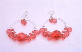 Red Simulated Crystals Beads Silver Hoop Earrings Gorgeous Earrings - $4.93
