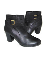 COLE HAAN Belted Ankle Boots, Black pebble leather women's 10 B $280  - $48.15