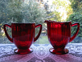 New Martinsville Ruby Addie/Twelve Point Creamer & Sugar - $25.00