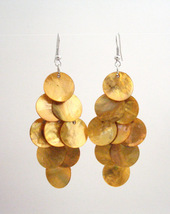 Harvest Shell Chandelier Earrings Sexy Mop Shell Dangle Earrings - $6.88