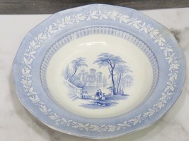 "Antique Staffordshire Blue Transferware Rimmed Soup Plate 10.25"" Woman Child - $24.75"