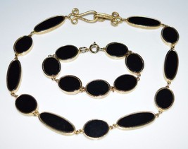 VTG Gold Tone Black Lucite Disk Disc Choker Necklace Bracelet Set - $39.60