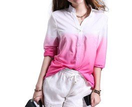 Button Down Deep V Gradient Color Slim Fit Casual Women Long Sleeve Shir... - $12.34