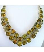 Geometric Lemon Topaz Kaleidoscope faceted Sterling Silver Collar Neckla... - $323.52