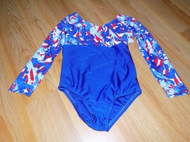 Size 4-6 Blue Red White Stars Patriotic Long Sleeve Dance Gymnastics Leo... - $18.00
