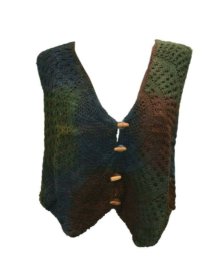 Primary image for BOHO HIPPIE RETRO UPCYCLED VINTAGE CROCHET COTTON BUTTON UP WAISTCOAT FREESIZE