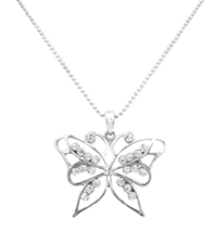 Classic Jewelry Timeless Tradition Diamante Butterfly Pendant Necklace - $9.48