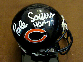 GALE SAYERS HOF 77 CHICAGO BEARS SIGNED AUTO BEARS MINI HELMET SHOW SIGNED - $148.49