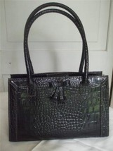 "Liz Claiborne Small Black Shiny Faux Leather Purse Handbag 12.5"" x 9.5"" - $19.90"