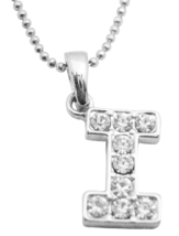 Alphabet Diamante Pendant Letter Starting From I Name Pendant - $9.48