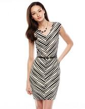 NWT Womens Dana Buchman Beige/Blk Jacquard Stripe Belted Dress Sz XL Ext... - $22.76