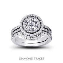 1.19ctw J-SI3 VG-Cut Round AGI Genuine Diamonds 950Plt Split Band Bridal... - $2,730.42