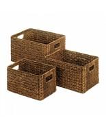 Brown Wicker Storage Basket w/ Built-in handles Set of 3  - $43.56