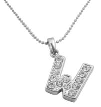 Inexpensive Diamante Letter Pendant Letter W Shimmering Pendant - $9.48