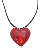 Red Heart Filled w/ Your Love Jewelry Red Murano Glass Heart Pendant - $9.48