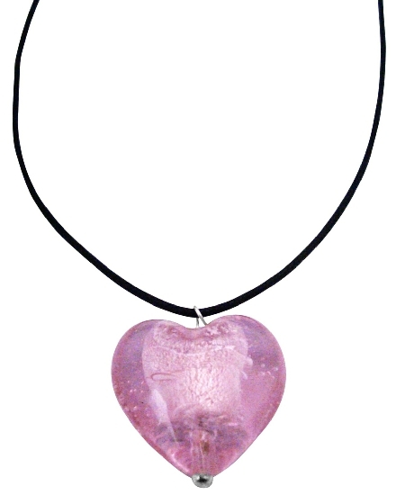 Express Your Love w/ Pink Murano Heart Pendant Inexpensive Jewelry