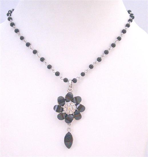 Black Flower Pendant Inexpensvie Teardrop Chained Necklace
