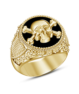 Men's Crossbones Skull Ring 18k Yellow Gold Finish 925 Silver With Black... - £70.20 GBP