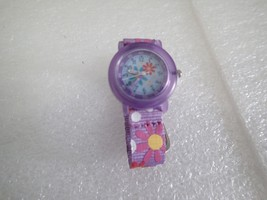 ACCUTIME PURPLE FLOWER JAPAN MOVEMENT WATCH GIFT *NEEDS BATTERY* - $2.97
