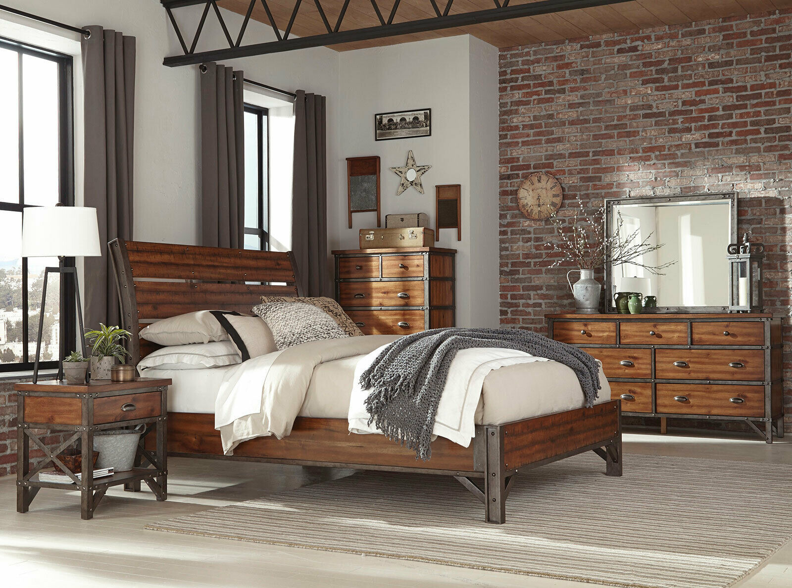 arthur industrial style brown bedroom furniture with 5 piece queen king bed set - bedroom sets
