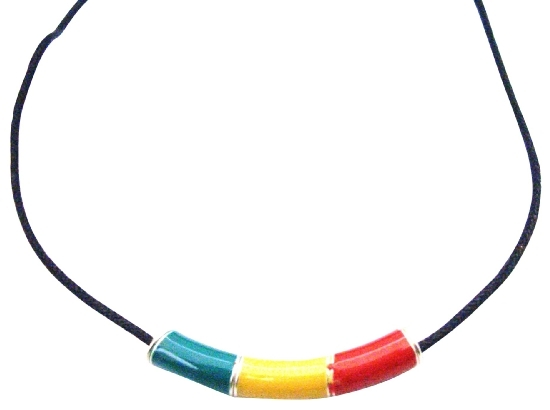 Jamaican Jewelry The Rastafarian colours of Yellow Red Green Pendant