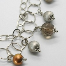 Silver Bracelet 925 Rhodium with Quartz Affumicarto and Pearls Water Dolce image 2