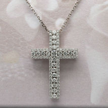 2.10 Ct Round Diamond Cross Shape Pendant Jewelry Gift Solid 14K White G... - $84.99