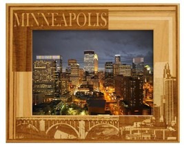 Minneapolis Minnesota Laser Engraved Wood Picture Frame (5 x 7) - £22.42 GBP