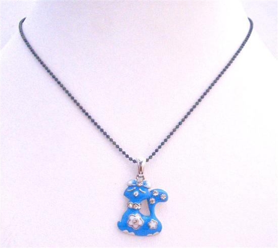 Blue Enamel Cute Kitty Pendant Choker Necklace Black Beaded Necklace
