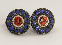 VINTAGE Jewelry MICRO MOSAIC SCREW BACK EARRINGS - $15.00