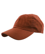Rust Brown Baseball Cap Plain Polo Style Washed Adjustable 100% Cotton - $15.98