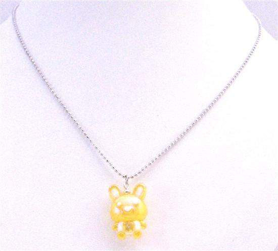 Easter Bunny Jewelry Holiday Yellow Very Cute Rabbit Pendant Necklace
