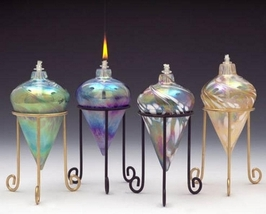 Rosetree Conical with Stand Art Glass Oil Lamp - $40.00