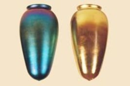 Art Glass Favrile Gold or Blue Stalactite Shade - $128.00