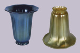 Art Glass Favrile Gold or Blue Trumpet Shade - $108.00
