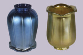 Art Glass Favrile Gold or Blue Tulip Shade - $128.00