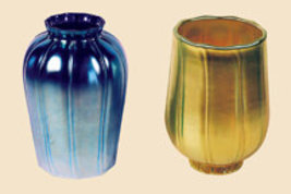 Art Glass Favrile Gold or Blue Tulip Bud Shade - $128.00