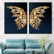 Golden Butterfly Wings Modern Abstract Home Decor Wall Art Posters Canva... - $10.35+