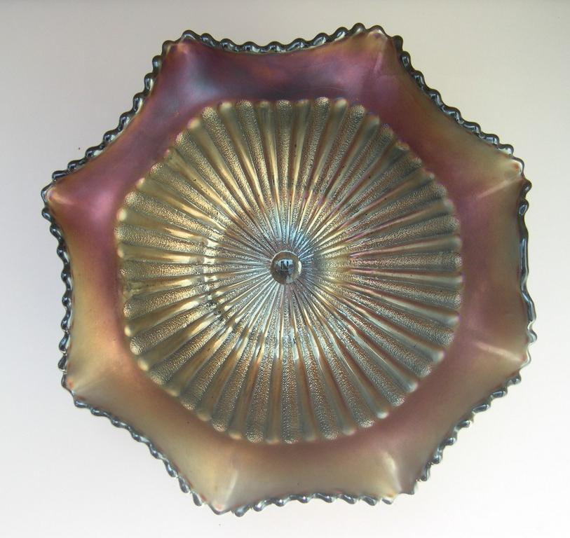 Northwood Stippled Ray Carnival Glass Bowl