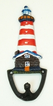 Nautical Hand-Painted Cast Iron Lighthouse Hook in Red - $8.50