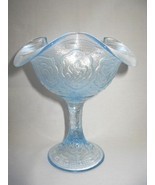 Fenton Ice Blue Carnival Persian Medallion Compote - $35.00